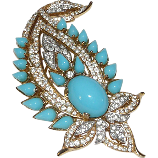 """Magnificent """"Jewels of India"""" Paisley style Brooch – Designed for Trifari Company by Alfred Philippe - Rare! – Jewels of India Series 1965"""