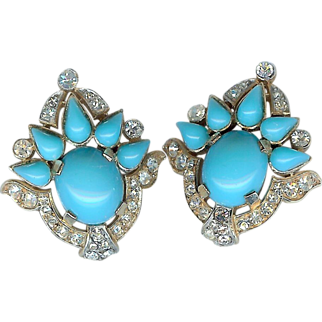 """Magnificent """"Jewels of India"""" turquoise colored clip Earring set – Designed for Trifari Company by Alfred Philippe - Rare! – Jewels of India Series 1965"""
