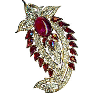 "Magnificent ""Jewels of India"" Paisley style Brooch Ruby red colored stones – Designed for Trifari Company by Alfred Philippe - Rare! – Jewels of India Series 1965"