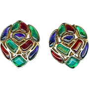 Trifari - Modern Mosaics series - Ruby, Emerald & Sapphire colored poured translucent glass Clip Earrings designer Alfred Philippe 1966
