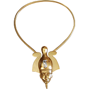 Egyptian Revival Pharaoh Osiris COBRA Brooch Pendant Necklace Trifari Company 1973