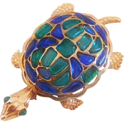 Trifari 'Modern Mosaics' Poured Glass emerald green & blue Turtle Brooch – designer 'Alfred Philippe' 1966