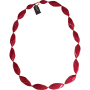 Modernist Red and Gold accent bead Necklace Trifari 1970's