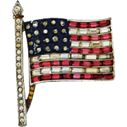 Patriotic Stars & Baguette Stripes US Flag brooch/pin World War II – Alfred Philippe designer Trifari Company 1940