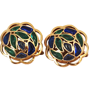 Modern Mosaics collectible earrings with sapphire & emerald colored glass designed by Alfred Philippe – 1966 Trifari