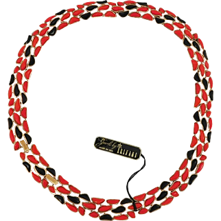 Rare coral and black Modern Mosaics series collar necklace Alfred Philippe designer - Trifari 1960's