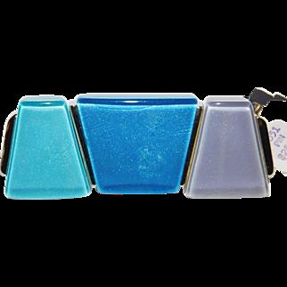 Modernist blue, teal and lavender Lucite brooch designer Kunio Matsumoto Trifari Company 1970s