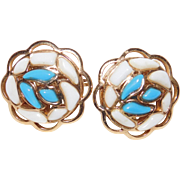 Modern Mosaics collectible earrings with blue & white colored glass designed by Alfred Philippe – 1966 Trifari