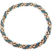 Rare turquoise blue and white Modern Mosaics series collar necklace Alfred Philippe designer - Trifari 1960's