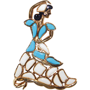 Trifari - Modern Mosaics series - poured glass white & blue flamenco dancer brooch – designer 'Alfred Philippe' 1966