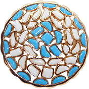 Trifari 'Alfred Philippe' 'Modern Mosaics' Poured Glass Blue & White Brooch - 1966