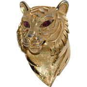 Beautiful figural Tiger Head brooch Trifari Company 1960's