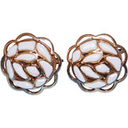Modern Mosaics series collectible clip style earrings with white colored glass designed by Alfred Philippe – 1966 Trifari