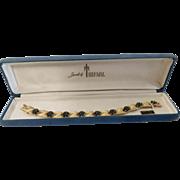 "Trifari Company ""Birthday series"" September brushed ribbon Swarovski crystal Sapphire colored floret rhinestone Bracelet - 1950s-60s"