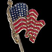 Trifari – Patriotic U.S. waving flag enamel and rhinestone brooch Nice!