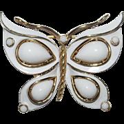 Enamel and Teardrop Cabochon Butterfly brooch - White Enamel Series - Trifari Company 1960's