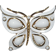 Enamel and Teardrop Cabochon Butterfly brooch - White Enamel Series - Trifari Company 1960's