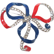 Vintage Patriotic Red White & Blue brooch Ribbon Bow knot – Trifari Company designer Joseph Wuyts 1940
