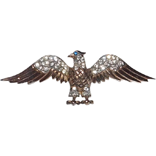 World War II Patriotic Sterling Golden Eagle with rhinestones Brooch Trifari Company 1940's