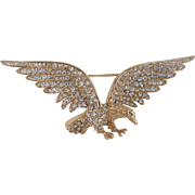 Patriotic Aurora Borealis Crystal Rhinestone Eagle Pin Brooch Trifari Company 1990