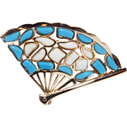 Modern Mosaics series collectible fan brooch featuring baby blue & milk white colored glass inserts designed by Alfred Philippe – 1966 Trifari