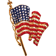 Trifari – Patriotic U.S. waving flag enamel and rhinestone brooch Nice!