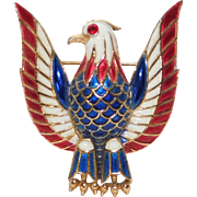 Patriotic Red White & blue enamel Eagle brooch Trifari Company 1970's nice!