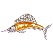 Magnificent Sailfish Rhodium plated pearl belly brooch designer Alfred Philippe for the Trifari Company 1930 Rare