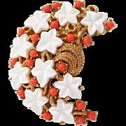 Vintage Coral color cabochon white Lucite Leaf flower brooch Trifari Company 1960's