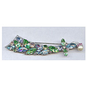 Vintage Trifari Prong set Multi-colored rhinestone sword Brooch Nice!