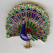 Multi-colored enamel Peacock brooch pin – Trifari 1960's
