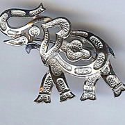 Silver toned signed Trifari Elephant brooch, GOP