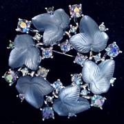 Magnificent Alfred Philippe Trifari Frosted Blue Moonstone Fruit Salad Brooch circa 1950