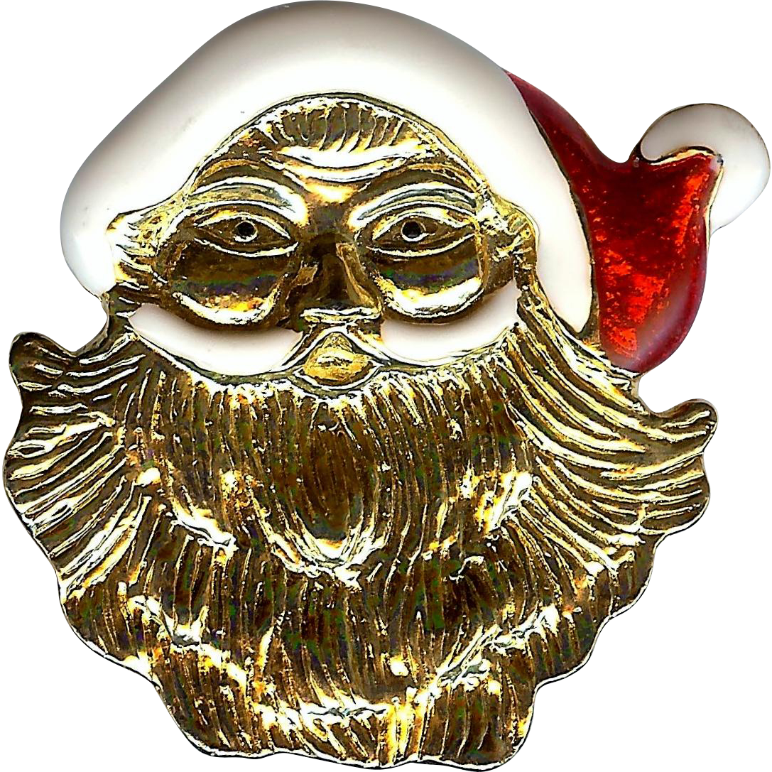 Holiday enameled santa claus face gold tone brooch pin for