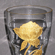 Tiffin 17350 Teardrop vase with gold encrusted Flower