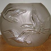 Phoenix Glass Flying Geese Vase w/ Original Label