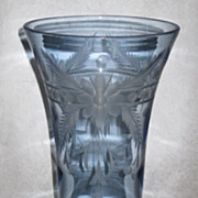 Tiffin Vase in Copen Blue with Cutting