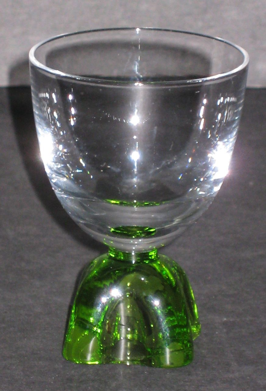 Fostoria Capri cordial with green foot