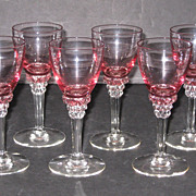 Tiffin Wisteria and Crystal #17501 Wine glasses, set of 8