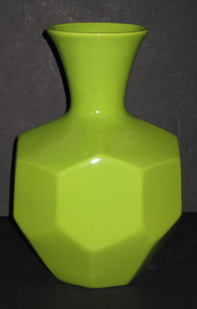 Royal Haeger Chartreuse Faceted Vase