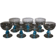 Bryce Aquarius Saucer Champagne Glasses, Crystal with Cerulean Blue stem