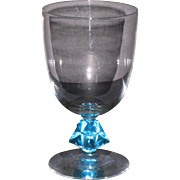 Bryce Aquarius Water Glasses, Crystal with Cerulean Blue stem, set of 6