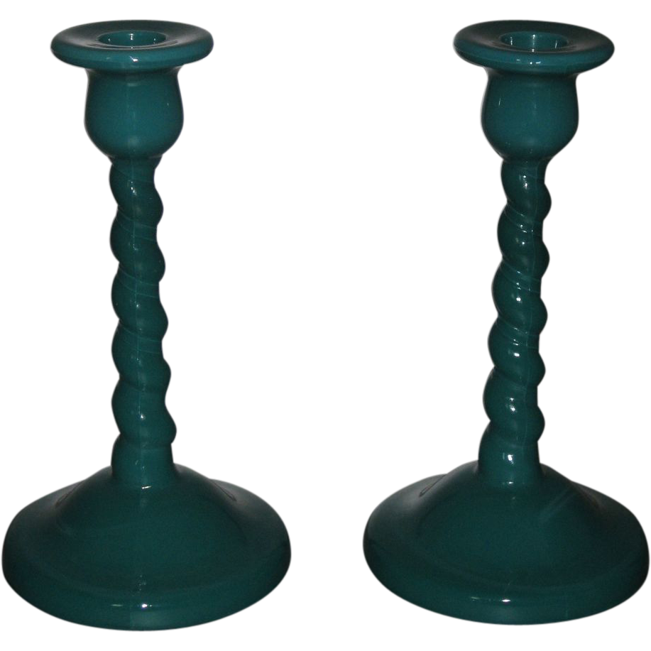 Cambridge Glass Jade Twist Candleholders