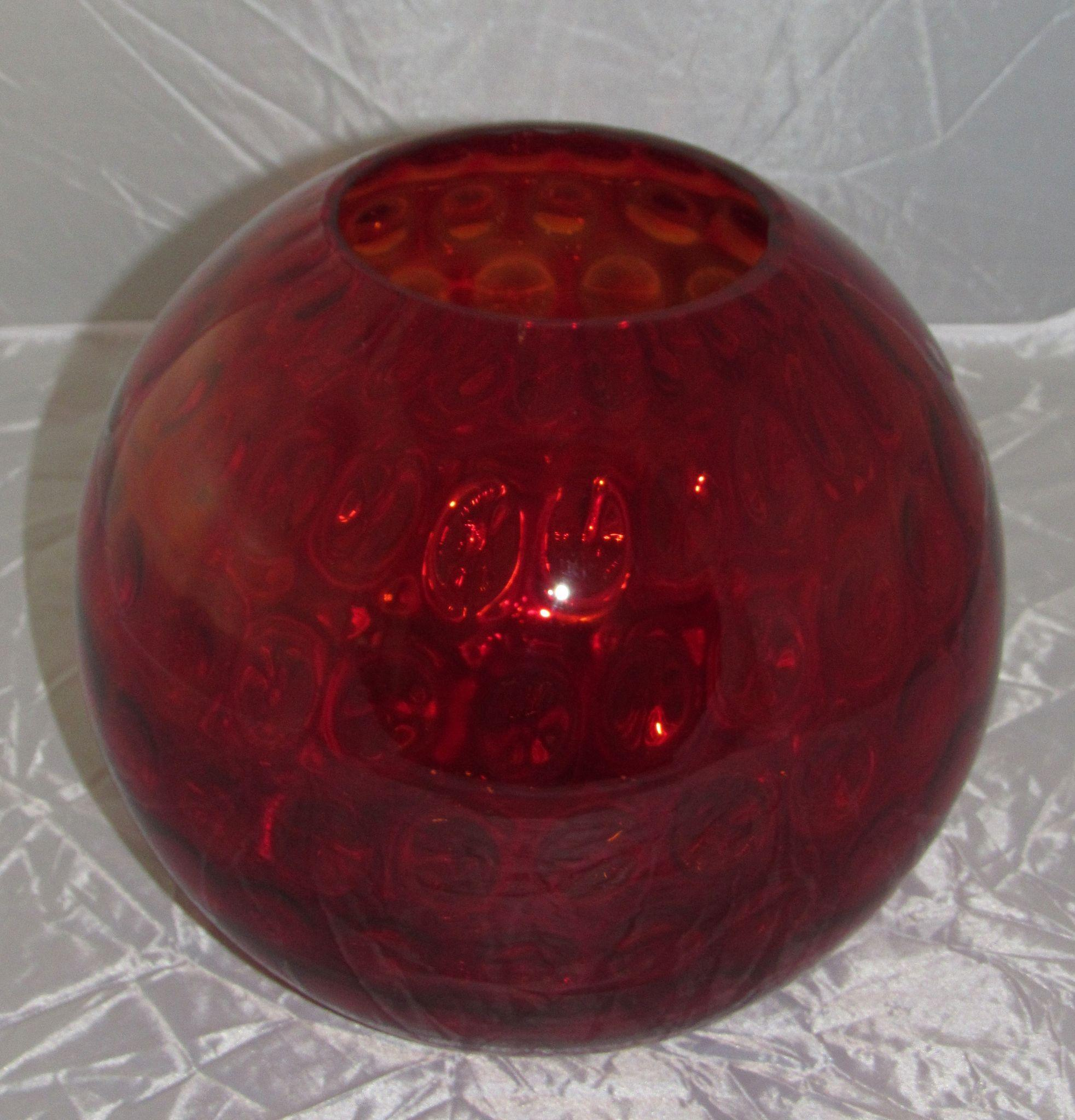 Consolidated 10 Red Glass Ball Vase With Dot Optic From Gbantiquesandcollectibles On Ruby Lane