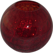"Consolidated 10"" Red Glass Ball Vase with Dot Optic"