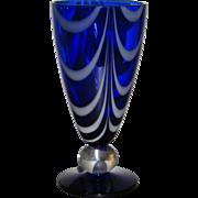 Tiffin #17350 Cobalt Teardrop vase with Opal Loops