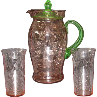 Cambridge 954 Pitcher and 2 tumblers