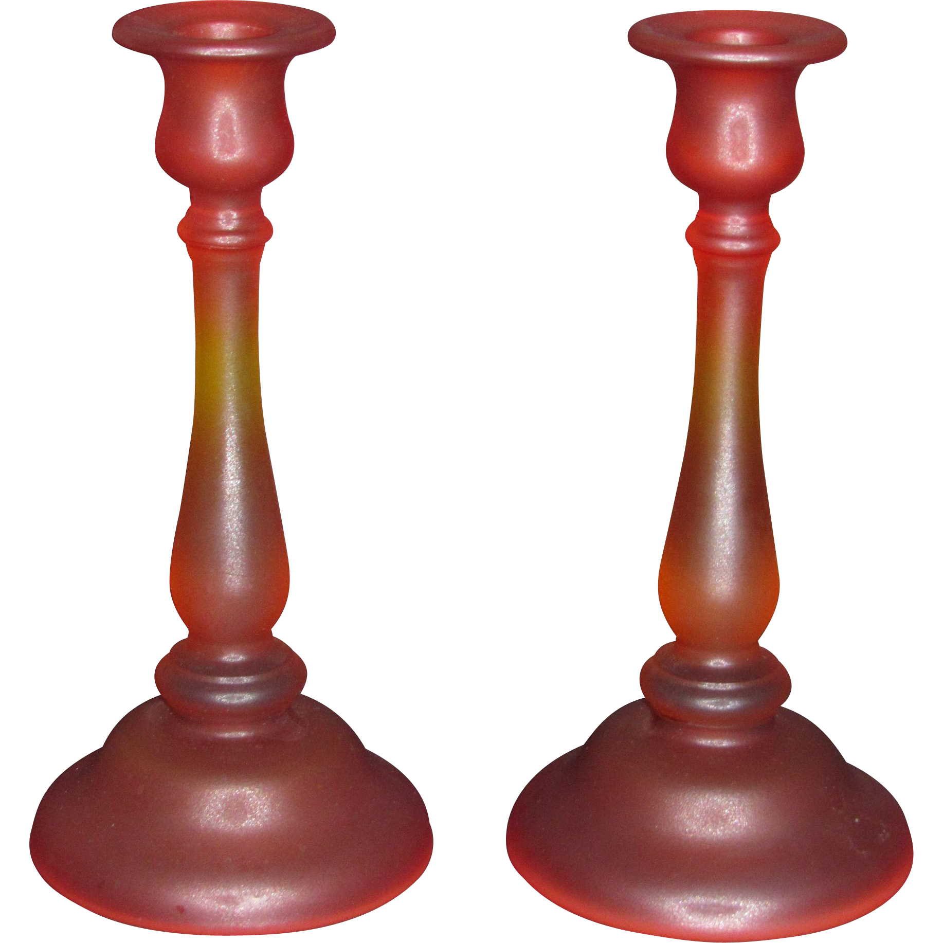 Tiffin Amberina #82 Candlesticks