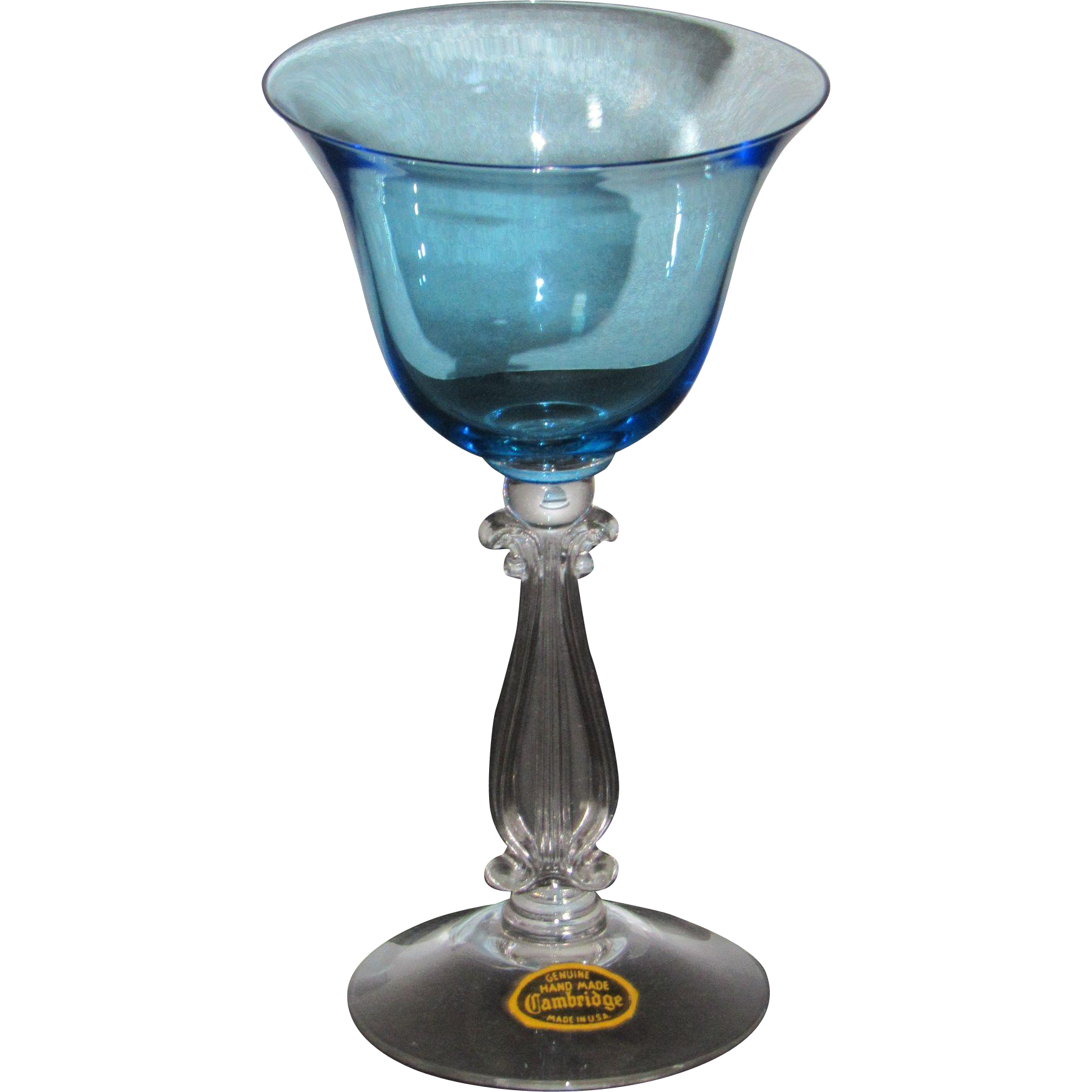 Cambridge Stradivari Cocktail Glass in Tahoe Blue w/ Cambridge sticker