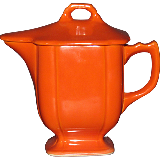 Red Homer Laughlin Riviera Syrup Pitcher with lid